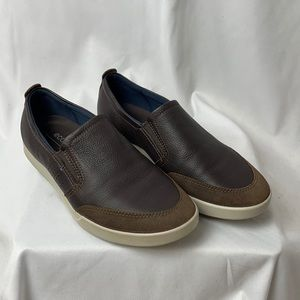 Ecco 42 Brown Leather & Suede Men's Slip On Shoes